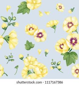 Hand drawn yellow hollyhocks pattern