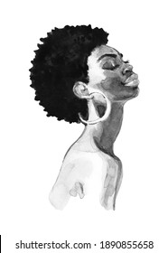 Hand drawn young African woman, side view. Watercolor fashion portrait on white background. Painting realistic black and white illustration.