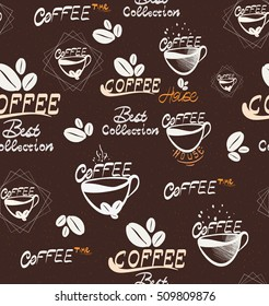 Hand Drawning coffee seamless pattern, Illustration for your application , project