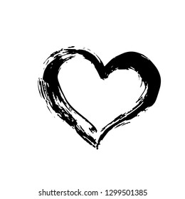 Hand drown heart isolated on write.Grunge shape of heart. Black textured brush stroke. Valentines day sign. Love symbol. Easy to edit  element of design. Raster copy.