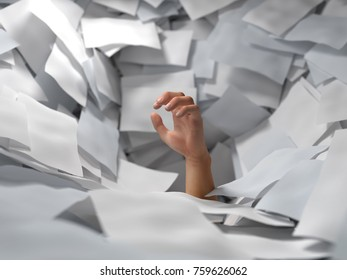 hand drowning in paper sheets, 3d illustration