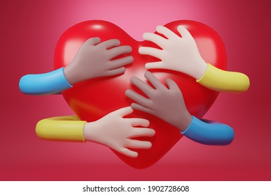 hand embracing red heart. embracing love symbol, cartoon character hand, 3d rendering