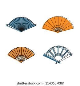 Hand fan icon set. Color outline set of hand fan icons for web design isolated on white background