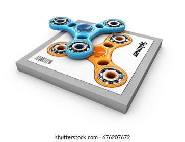 Hand Fidget Spinners Toy In The Box 3d Illustration