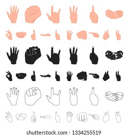Hand gesture cartoon icons in set collection for design. Palm and finger bitmap symbol stock web illustration.