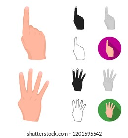 Hand gesture cartoon,black,flat,monochrome,outline icons in set collection for design. Palm and finger bitmap symbol stock web illustration.