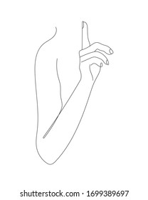 Hand Gesture Continuous Line Drawing. Minimalist Contour Illustration. One Line Woman Hand Drawing. Raster copy.