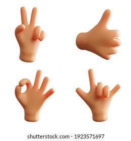 Hand Gesture Cute 3D Rendering Okay Peace Thumb Up Metal Rock Pack