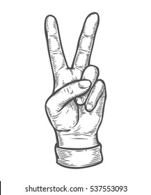 Hand gesture. Pointing two finger up counting. Retro vintage sketch illustration. Engraving style. black isolated on white background