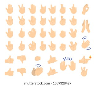 Hand gesture set. Collection of human palm showing various sign. Thumb up, fist and peace symbol. Isolated  illustration in cartoon style