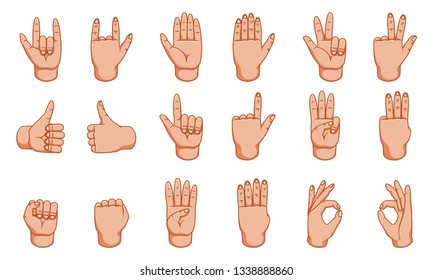 Hand gestures, great design for any purposes. Signs. Gesture line icon. Hand gestures illustration. Human  gestures. White background.