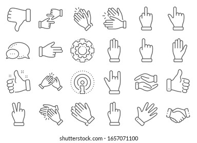 Hand gestures line icons. Handshake, Clapping hands, Victory. Horns, Thumb up finger, drag and drop icons. Donation hand gestures, middle finger, palm. Helping hand, ok sign. Line signs set.