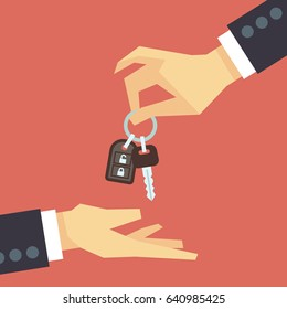 Hand giving car key to other hand. car rent and sale flat concept. Deal with customer, buy new automobile illustration