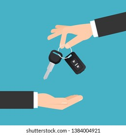 Hand giving car keys with chain. Car rental or sale concept in flat style. Clipart image
