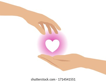 There's a hand giving a heart to another one's hand. Concept about love, care, sharing, donation, human kindness.