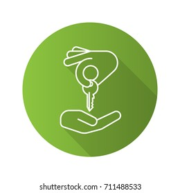 Hand giving key to another hand. Flat linear long shadow icon. Real estate market deal. Homebuyer. Private property purchase. Raster outline symbol