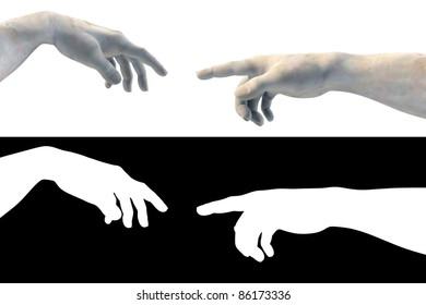 Hand of God Adam made of white marble on white