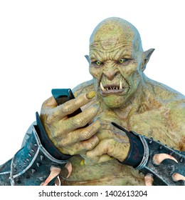 hand of a green orc holding a cell phone in a white background. This monster in clipping path is very useful for graphic design creations, 3d illustration