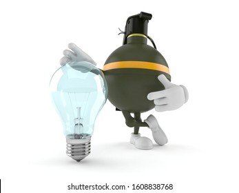 Hand grenade character with light bulb isolated on white background. 3d illustration