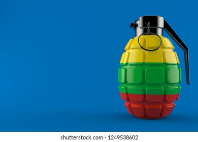 Hand grenade with lithuanian flag isolated on blue background. 3d illustration