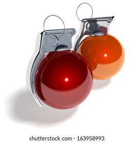Hand grenade shaped christmas tree balls, xmas tree baubles, red, orange, 3d rendering isolated on white background