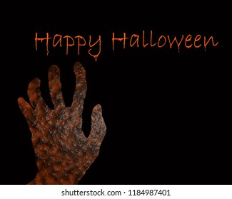 The hand of the gruesome disgusting pulpy rot. Put on a black background Contains the words Happy halloween.