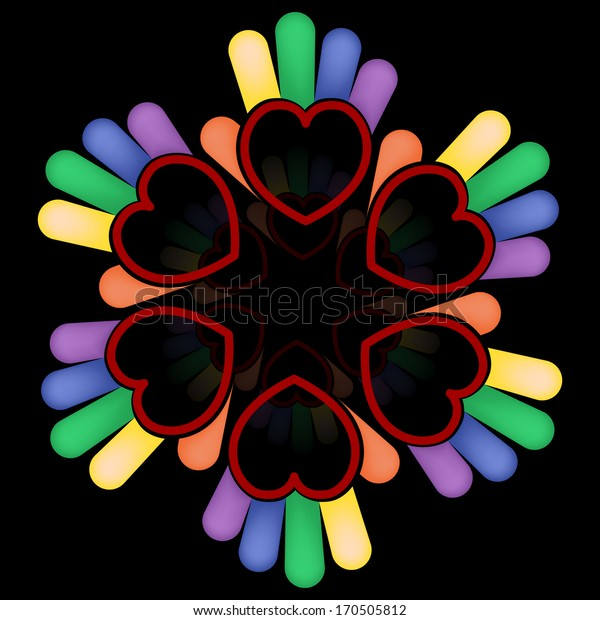Hand hearts in circle. Group people