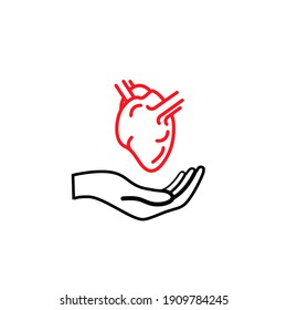 Hand hold an anatomical heart, healthcare concept outline icon isolated on white