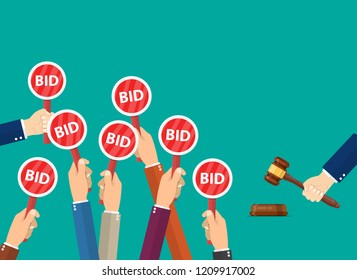 Hand hold paddle with BID. Auction meeting. Business bidding process concept.Template for open trade. Many offers good prices. Raster version.
