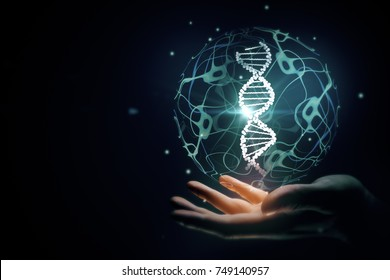 Hand holding abstract sphere with DNA on black background with copy space. Medicine and innovation concept. 3D Rendering