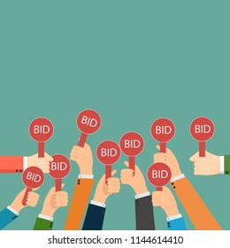 Hand holding auction paddle. Bidding icon. Auction competition. Hands rising signs with BID inscriptions. Business and trade concept.
