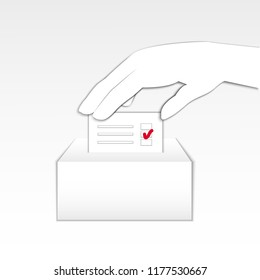 Hand holding ballot sheet and putting it into a ballot box. Abstract concept for election system, casting vote. Symbol of exercising one's civil rights. Flat image,  illustration, paper cut style