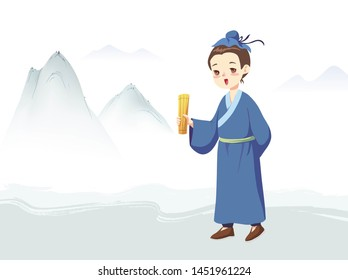 Hand holding bamboo slippery ancient scholar and distant mountain background