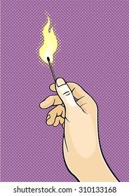 Hand holding a burning match (raster version)