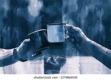 Hand holding cup of coffee, digital painting