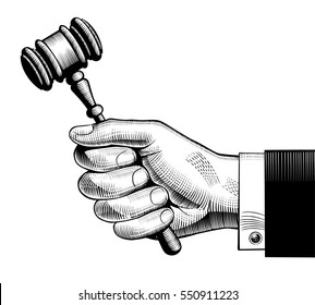Hand holding judges gavel. Vintage engraving stylized drawing