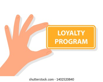 Hand holding loyalty program card. Clipart image isolated on white background