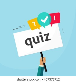 Hand holding placard with quiz text and speech bubble symbols, concept of questionnaire show sing, question competition banner, exam, interview design illustration isolated on blue background image