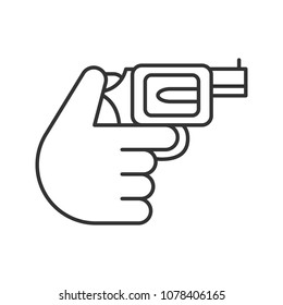 Hand holding revolver linear icon. Shooting. Russian roulette. Thin line illustration. Pistol, gun. Contour symbol. Raster isolated outline drawing