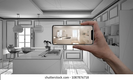 Hand holding smart phone, AR application, simulate furniture and interior design products in real home, architect designer concept, sketch project background, modern kitchen, 3d illustration