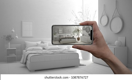 Hand holding smart phone, AR application, simulate furniture and interior design products in real home, architect designer concept, draft project background, modern bedroom, 3d illustration