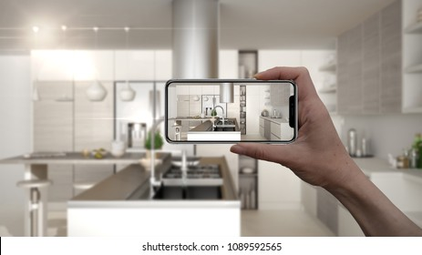 Hand holding smart phone, AR application, simulate furniture and interior design products in real home, architect designer concept, blur background, modern kitchen, 3d illustration