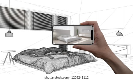 Hand holding smart phone, AR application, simulate furniture and interior design products in real home, architect designer concept, sketch background, modern bedroom, 3d illustration
