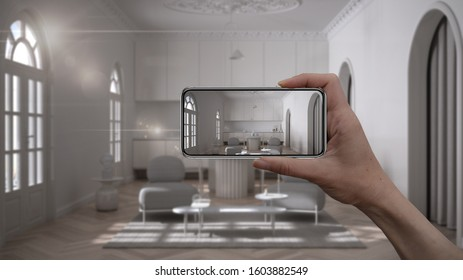 Hand holding smart phone, AR application, simulate furniture and interior design products in real home, architect designer concept, blur background, classic living room with kitchen, 3d illustration