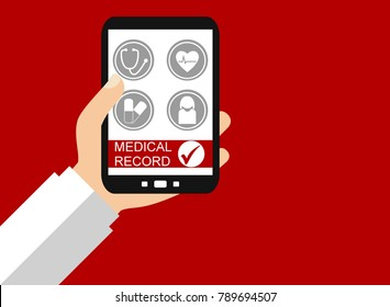 Doctor´s Hand holding Smart Phone: Medical Record - Flat Design