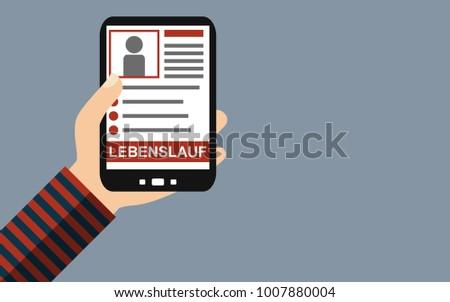 Hand Holding Smartphone Curriculum Vitae German Stock Illustration