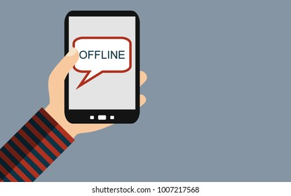 Hand holding Smartphone: Offline - Flat Design