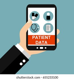 Hand holding Smartphone: Patient Data - Flat Design