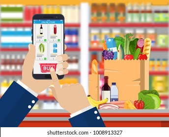 Hand holding smartphone with shopping app. Grocery delivery. Internet order. Online supermaket. Interior store inside. Drinks, food, fruits, dairy products. illustration in flat style Raster version