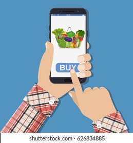 Hand holding smartphone with shopping bag full with different healthy food. Grocery delivery. Internet order. Online supermaket. illustration in flat style Raster version